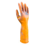 Dirty orange rubber gloves isolated on white background with clipping path Royalty Free Stock Photo