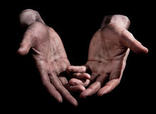 Dirty Outstretched Hands Royalty Free Stock Photos