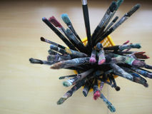 Dirty paint brushes. A bunch of dirty paint brushes Royalty Free Stock Photography