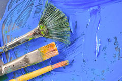 Dirty Paint Brushes Stock Photo