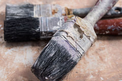 Dirty Paint Brushes Close up Stock Image