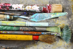 Dirty Paint Brushes Stock Images