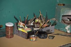 Dirty paint brushes. royalty free stock photography