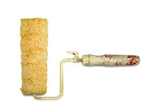 Dirty paint roller isolated Stock Photos