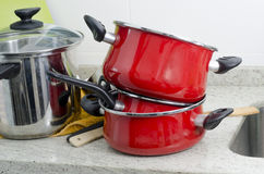 Dirty pan and pots. Royalty Free Stock Images