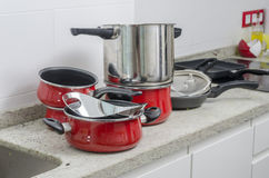 Dirty pan and pots. Stock Photo