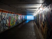 Dirty pedestrian tunnel at night Royalty Free Stock Images