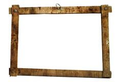 Dirty picture frame screwed. Grunge frame made of planks, blurred with dirt, free copy space Royalty Free Stock Photo