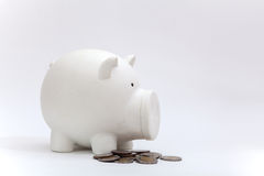 Dirty piggy bank and coin from baby Royalty Free Stock Image