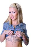 Dirty Pirate Tattoo Girl Stock Photo