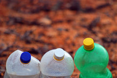 Dirty Plastic bottles for recycling Stock Photos