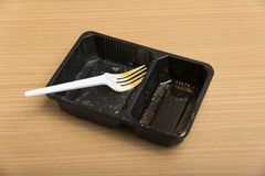 Dirty plastic food container Royalty Free Stock Photos
