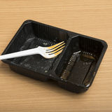 Dirty plastic food container Royalty Free Stock Image