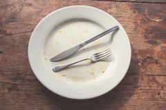 Dirty plate and cutlery Royalty Free Stock Image