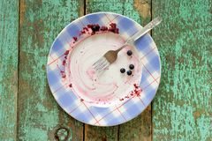 Dirty plate with fresh blueberries left on turquoise background. Top view Stock Images