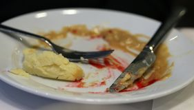 Dirty Plate After Having Meatballs, Gravy and Mashed Potatoes. Dirty, empty plate after having meat balls, gravy and mashed potatoes with jam for lunch. Table stock photos