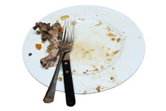 Dirty Plate Ready For Washing Up Royalty Free Stock Photo
