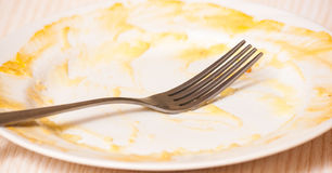Dirty plate on the table. Royalty Free Stock Photos