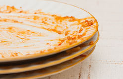 Dirty plates. Some dirty dishes on the table Stock Photography