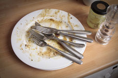 Dirty plates and cutlery Stock Photography