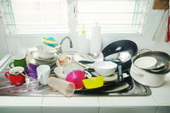 Dirty plates,dishes in sink Royalty Free Stock Photography