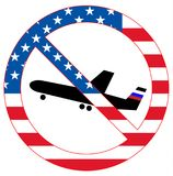 Dirty politics conceptual vector image. USA sanctions against Russia. US embassy blocks American visas for Russian pilots. Forbidd Royalty Free Stock Images