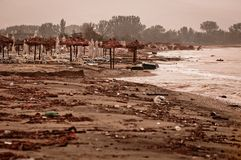 A dirty polluted beach Stock Image