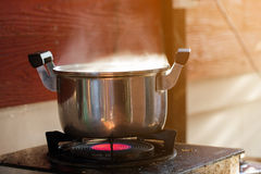 Dirty pot on gas stove. In dirty kitchen Stock Image