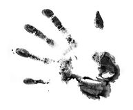 Dirty print. The dirty print by a hand of the person. The image is isolated and placed on a white background Royalty Free Stock Image