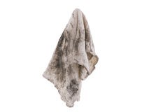 Dirty rag suspended isolated. Dirthy rag suspended isolated on white background Stock Photos