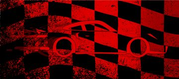 Fast Car Chequered Flag. A dirty red and black grunge fx chequered race flag with a fast car Stock Photography