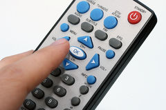 Dirty remote control in hand Royalty Free Stock Image