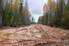Dirty road in Latvia Stock Photos