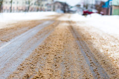 Dirty  road. Dirty snow slush on winter road Royalty Free Stock Image