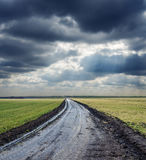 Dirty road to horizon and dramatic sky Royalty Free Stock Images