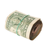 Dirty roll of United States dollars. Isolated white Stock Image