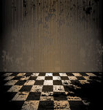 Dirty room with checkered floor. Abandoned brown dirty room with checkered floor Stock Image