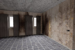 Dirty room. 3d rendering of an abandoned and dirty room Stock Image