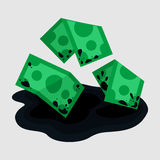 Dirty rumpled money in puddle Royalty Free Stock Photos