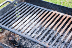 Dirty rusted barbecue grill detail. Stock Photos
