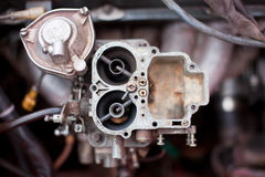 Dirty rusty carburetor of old russian car Stock Photos