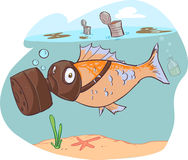 Dirty sea and fish. A vector image (dirty sea and fish illustrations Stock Photos