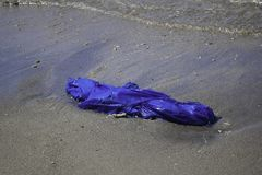 Dirty sea sandy shore the Sea. Environmental pollution. Ecological problem - Pollutions and garbages on the beach stock photos