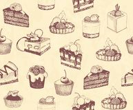 Dirty seamless background with sketches of cakes and pastries. Sketches of scrumptious cupcakes and berry pie and chocolate tiered cake, decorated by butter Royalty Free Stock Photography