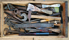 Dirty set of hand tools, vintage background with old tools Stock Photo