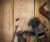 Dirty set of hand tools Stock Photography