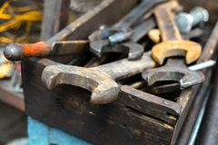 Dirty set of wrenches Royalty Free Stock Photo