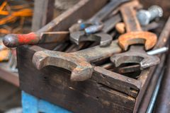 Dirty set of wrenches Stock Photos