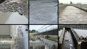 Dirty sewage water. Bubbling scum. Waterworks. Clips collage. stock video footage