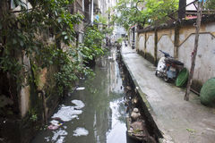 Dirty sewer. In Hanoi, Vietnam Royalty Free Stock Image